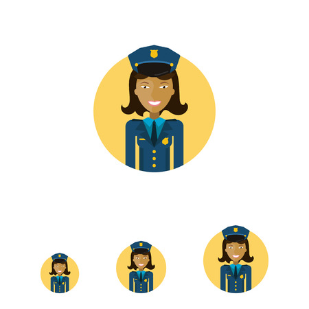 medium length: Female character, portrait of young Asian smiling policewoman Illustration