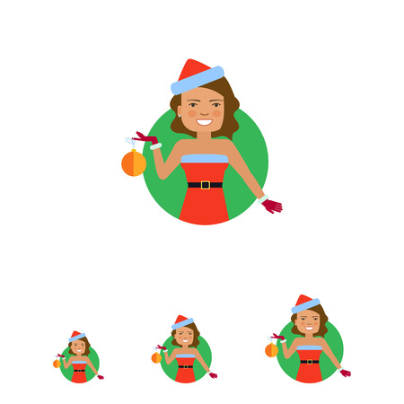 costume ball: Female character, portrait of smiling woman wearing red Santa costume, holding Christmas ball