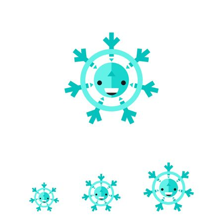 predicting: Multicolored vector icon of cartoon snowflake with happy face