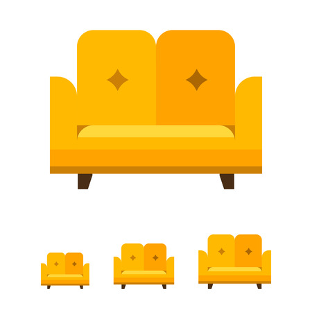 backrest: Multicolored vector icon of yellow sofa with backrest