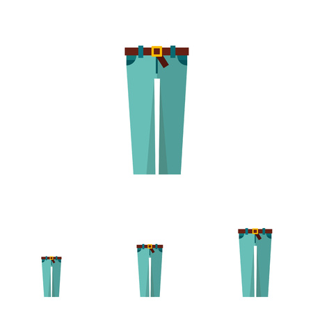 skinny jeans: Multicolored vector icon of skinny jeans with brown belt and buckle