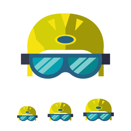 skier: Multicolored vector icon of skier helmet with goggles