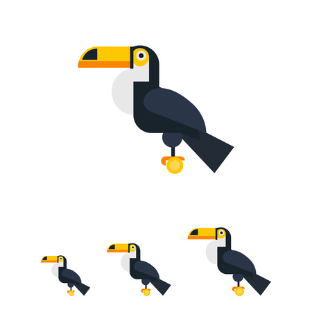 spread legs: Multicolored vector icon oftoucan sitting on perch