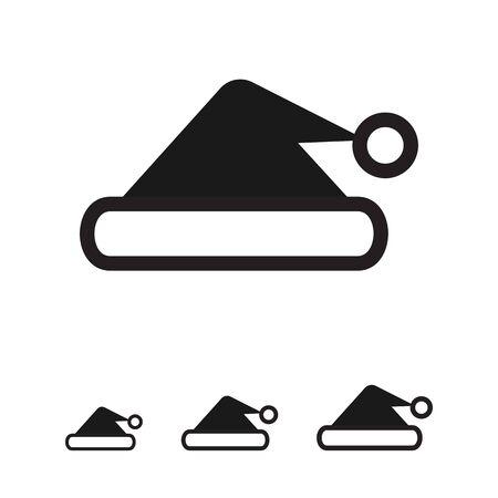 fur cap: Vector icon of traditional Santa hat silhouette