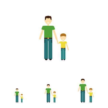 family with one child: Icon of single-parent family consisting of one man and one child