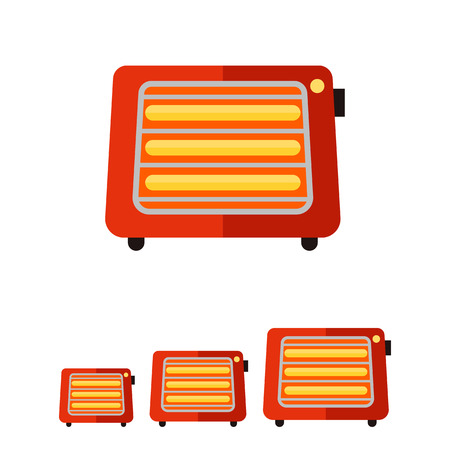 warmness: Vector flat icon of portable space heater with switch