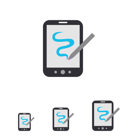 stylus: Icon of tablet computer with stylus