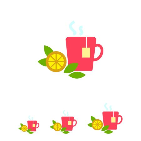 lemon slice: Icon of hot tea cup with tea bag, lemon slice and mint leaves