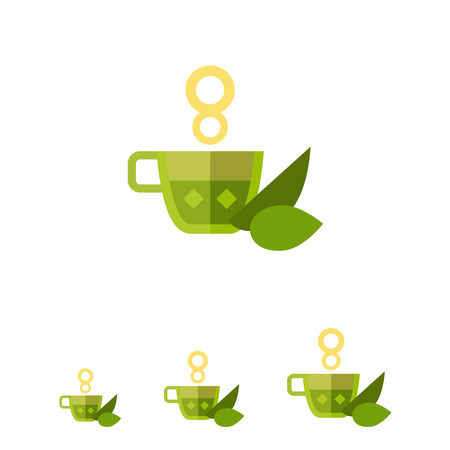 steam of a leaf: Multicolored vector icon of hot tea cup with mint leaves