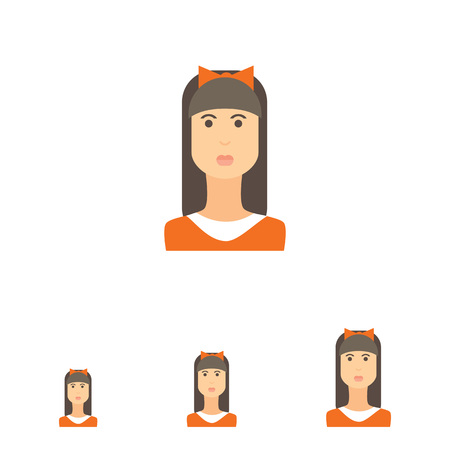 blank expression: Female character icon, portrait of teenage girl with long hair, fringe and bow on head Illustration