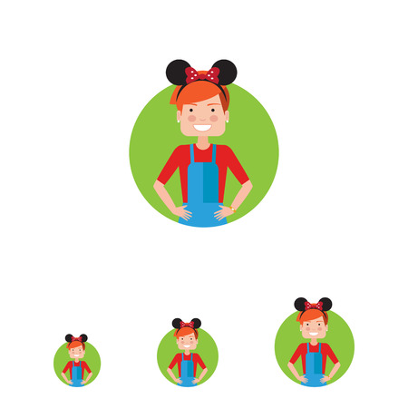 Female character, portrait of teenage girl wearing headband with Mickey Mouse ears