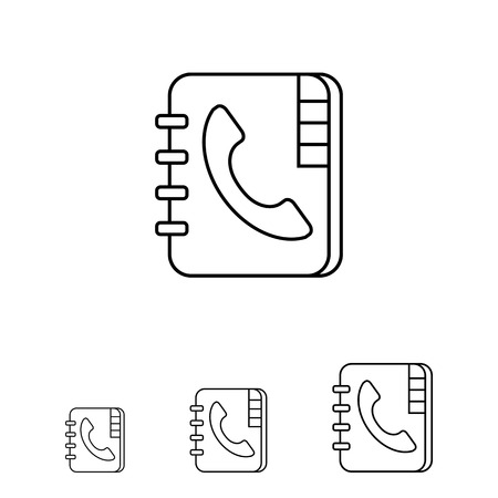 telephone book: Icon of telephone book with telephone receiver on cover Illustration