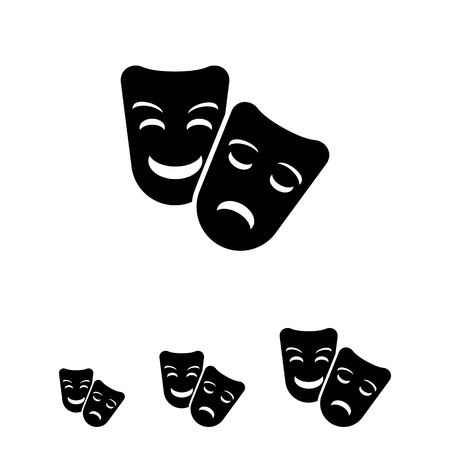 theatrical performance: Vector icon of comedy and tragedy theater masks
