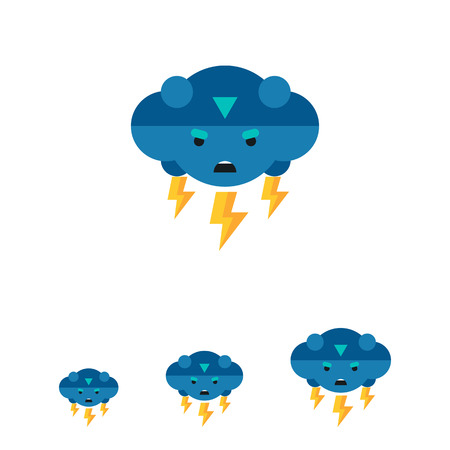 thunder cloud: Multicolored vector icon of thunder representing cloud with frown face and lightning