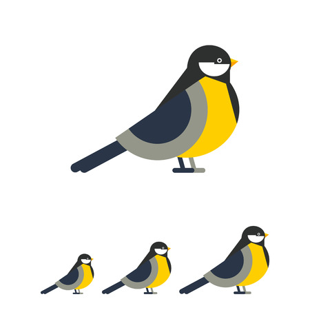 spread legs: Multicolored vector icon of titmouse, side view Illustration