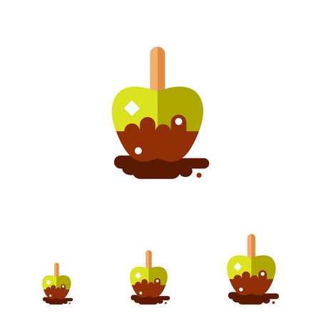 toffee: Multicolored vector icon of toffee apple with wooden stick