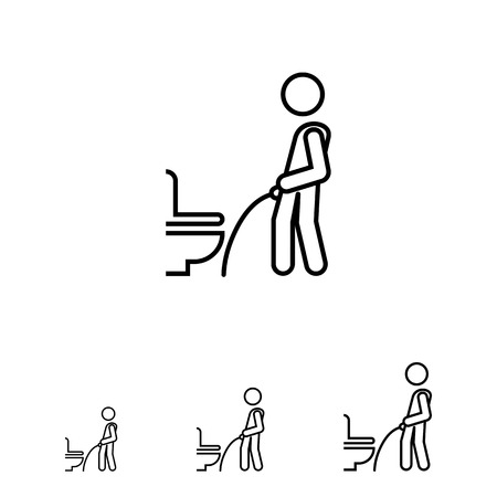 urination: Icon of man's silhouette urinating in public restroom