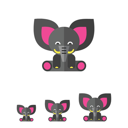 toy elephant: Multicolored vector icon of cute gray toy elephant Illustration