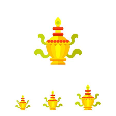 auspicious sign: Multicolored vector icon of ritual Treasure Vase Illustration
