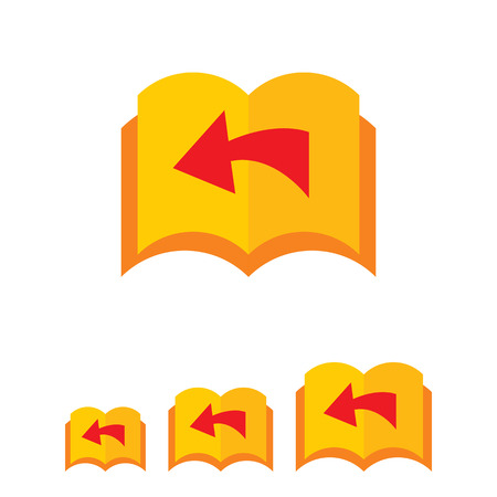 Icon of book with blank pages being turned over and direction arrow
