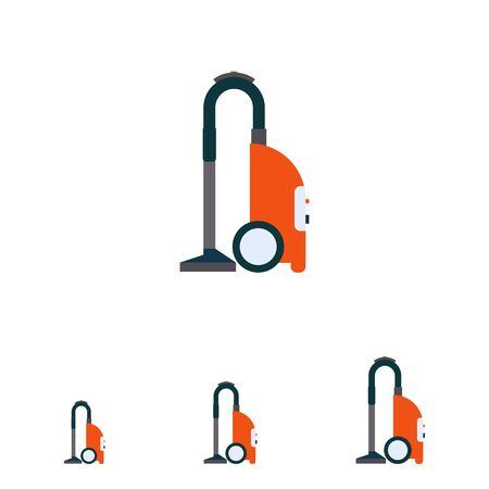 carpet cleaning service design: Multicolored vector icon of red vacuum cleaner Illustration