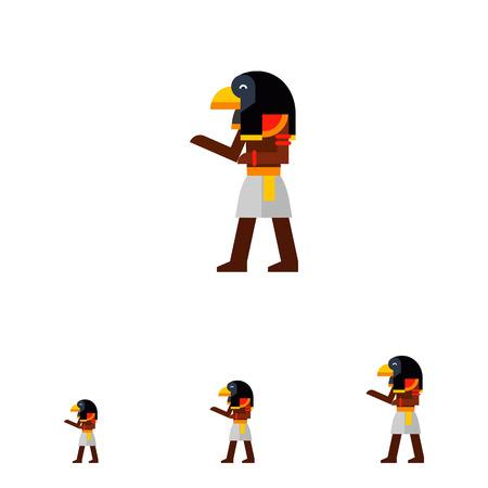 ra: Multicolored image of falcon-headed Ancient Egypt Deity Ra isolated on white background Illustration
