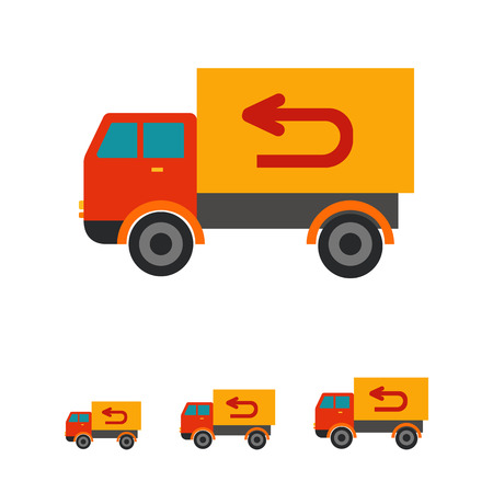 white goods: Multicolored vector icon of truck delivering goods, isolated on white