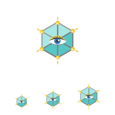 observing: Icon of human eye in hexagon
