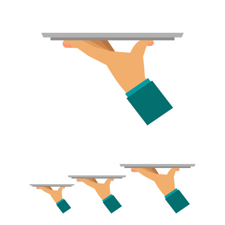 waiter tray: Multicolored vector icon of waiter hand holding empty tray