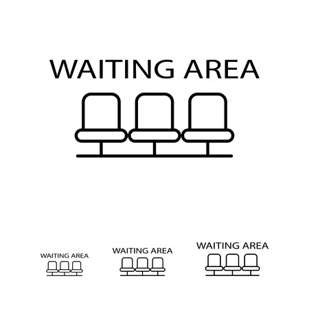 Ikona czeka kierunkowy znak z rzędu pustymi krzesłami