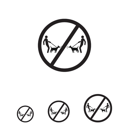 barking: Vector icon of men silhouettes walking dogs in prohibition sign Illustration