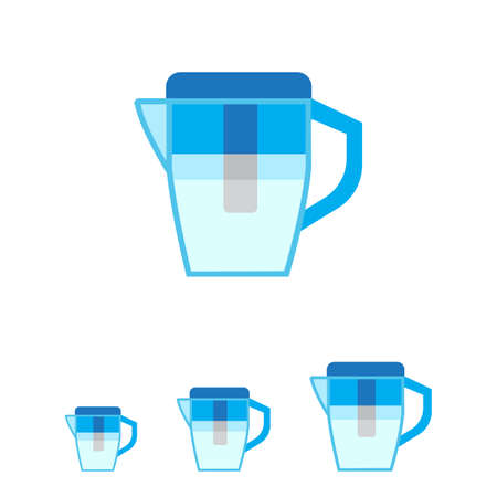 water filter: Vector icon of blue water filter jug
