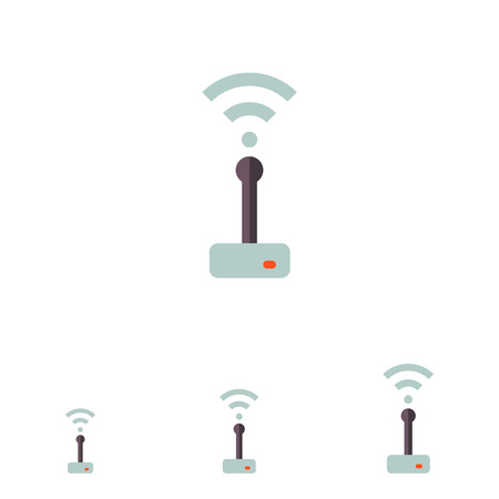 transmitting: Multicolored vector icon of wifi router transmitting signal Illustration