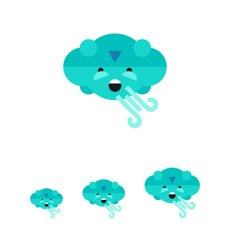 Multicolored vector icon of cloud blowing strong wind