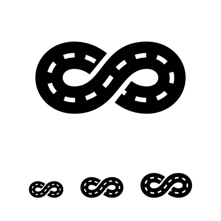 marking: Vector icon of road with marking winding in form of eternity sign
