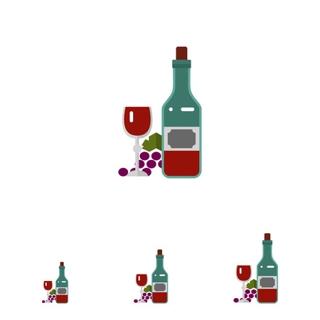 closed corks: Multicolored vector icon of closed wine bottle, glass with vine and grape bunch
