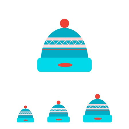 pompon: Vector icon of knitted winter hat with pompon
