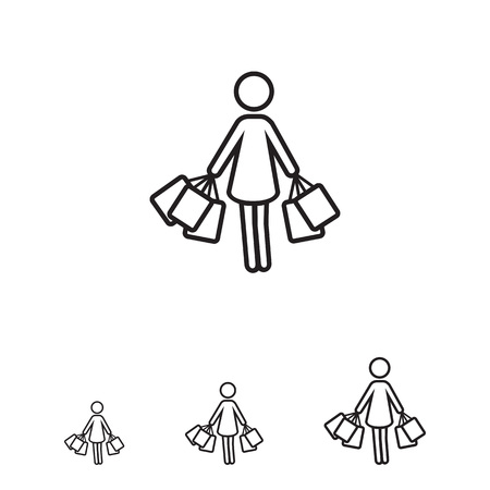 shoppers: Icon of woman silhouette carrying shopping bags Illustration