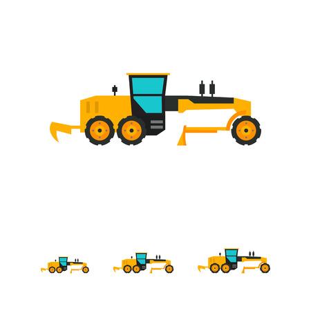road grader: Multicolored vector icon of yellow construction road grader