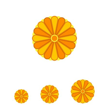tints: Stylized Japanese yellow chrysanthemum ornament element with many petals colored in different tints of yellow