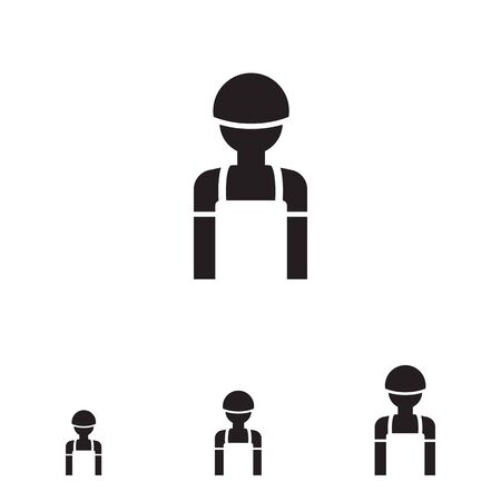 overall: Icon of man silhouette wearing overalls and hardhat Stock Photo
