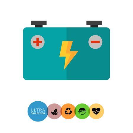 accumulator: Multicolored vector icon of big blue accumulator battery