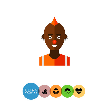 piercing: Multicolored vector icon of male  African American freak character with mohawk hairdo, red nose and piercing Illustration