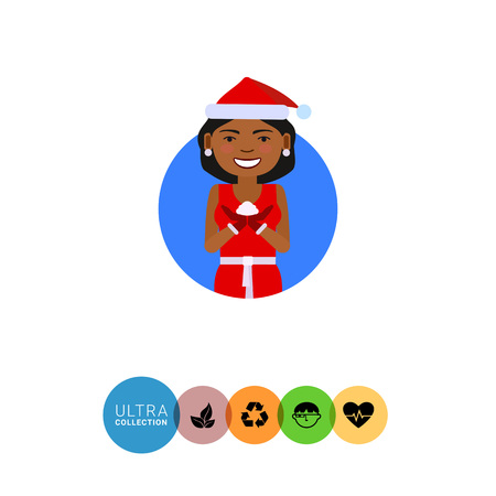 medium length hair: Female character, portrait of African American woman wearing red Santa costume, holding some snow