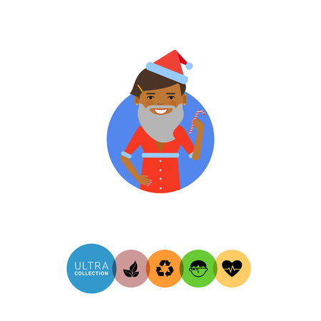 santa costume: Female character, portrait of African American woman wearing Santa costume and holding candy cane Illustration
