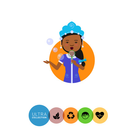 fancy dress: Female character, portrait of African American woman wearing fancy dress, blowing bubbles