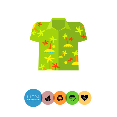 oahu: Aloha shirt flat icon. Multicolored vector illustration of shirt with palm trees