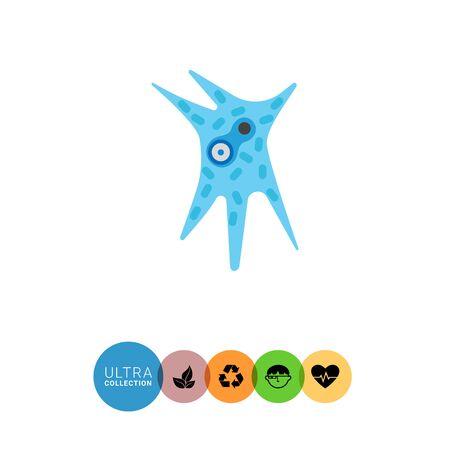 ameba: icono de la ameba radiozoa. ilustración de vectores multicolor del organismo unicellurar