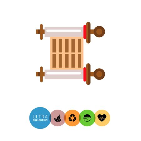 hebrew bible: Multicolored vector icon of ancient parchment scroll