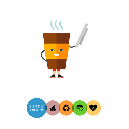 vivacity: Icon of animated plastic coffee cup taking off its cap like hat Illustration